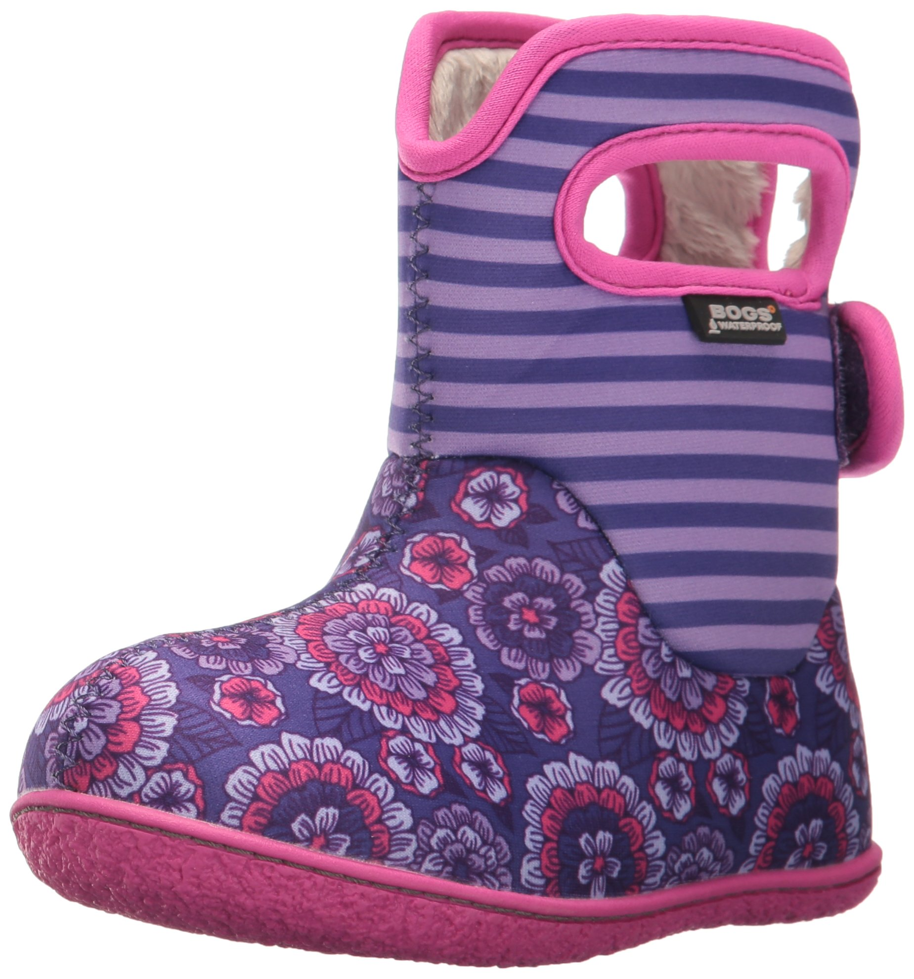 Bogs Baby Waterproof Insulated Toddler/Kids Rain Boots for Boys and Girls, Pansy Stripe Print/Violet/Multi, 4 M US Toddler