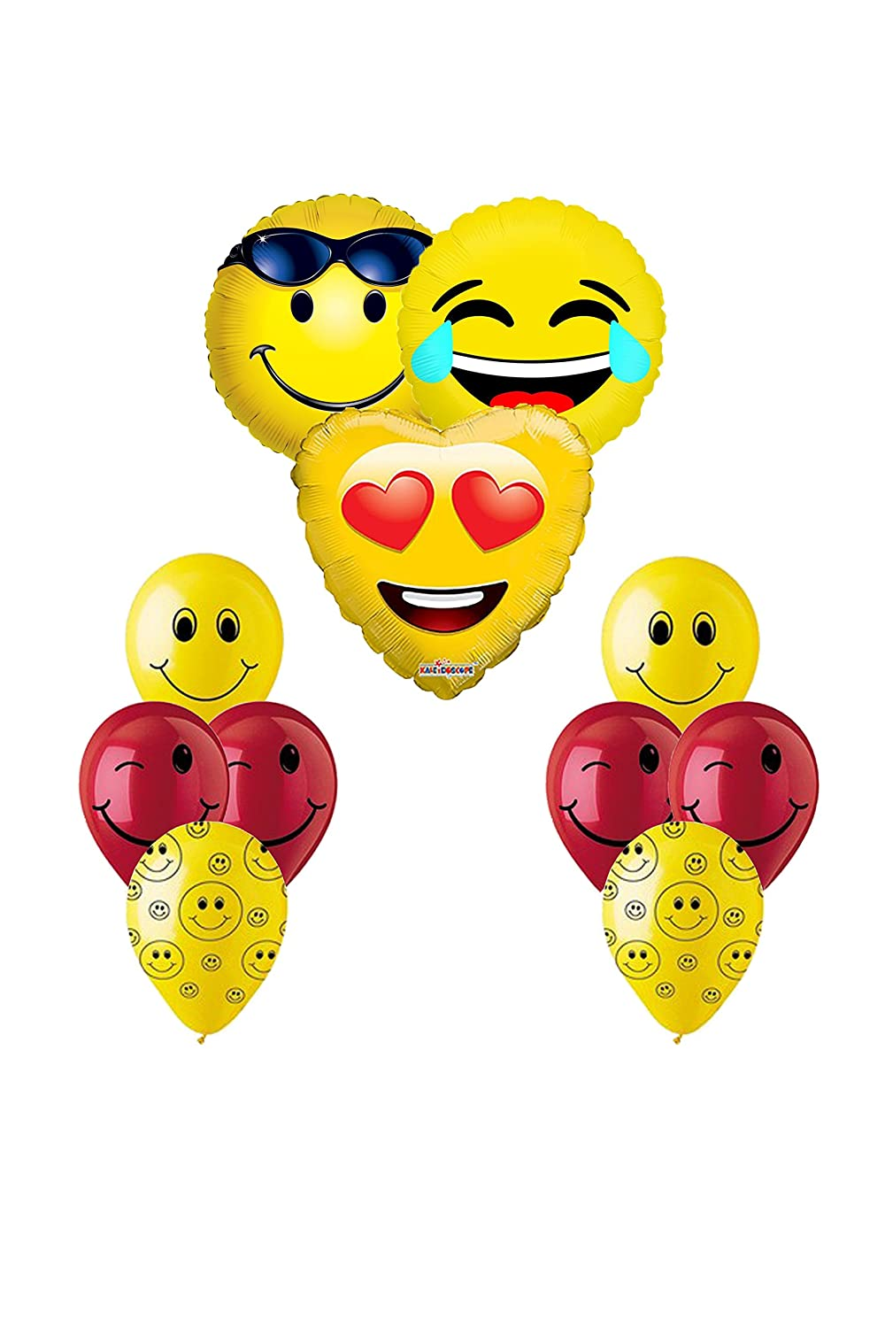3 XL Happy Birthday Emoji Smiley Mylar Balloons 2 Light Pink Circle 4 Purple Spakle
