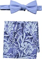 Tommy Bahama Men's Solid Bow Tie and Hibiscus Pocket Square Set
