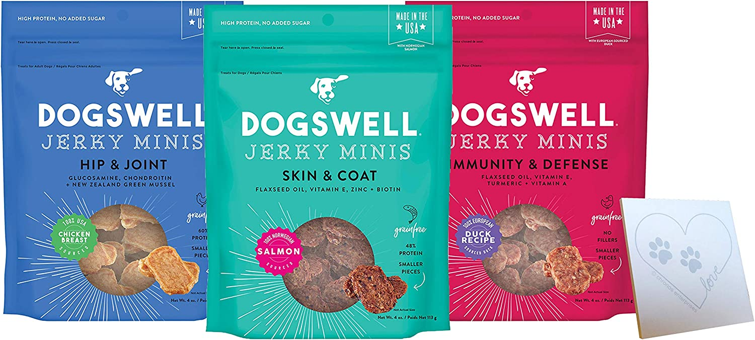 Dogswell Mini Jerky Variety Pack - 3 Total Flavors: Hip & Joint Chicken, Immune Defense Duck, and Skin & Coat Salmon - Plus Pet Paws Notepad (4oz Each, 12oz Total)