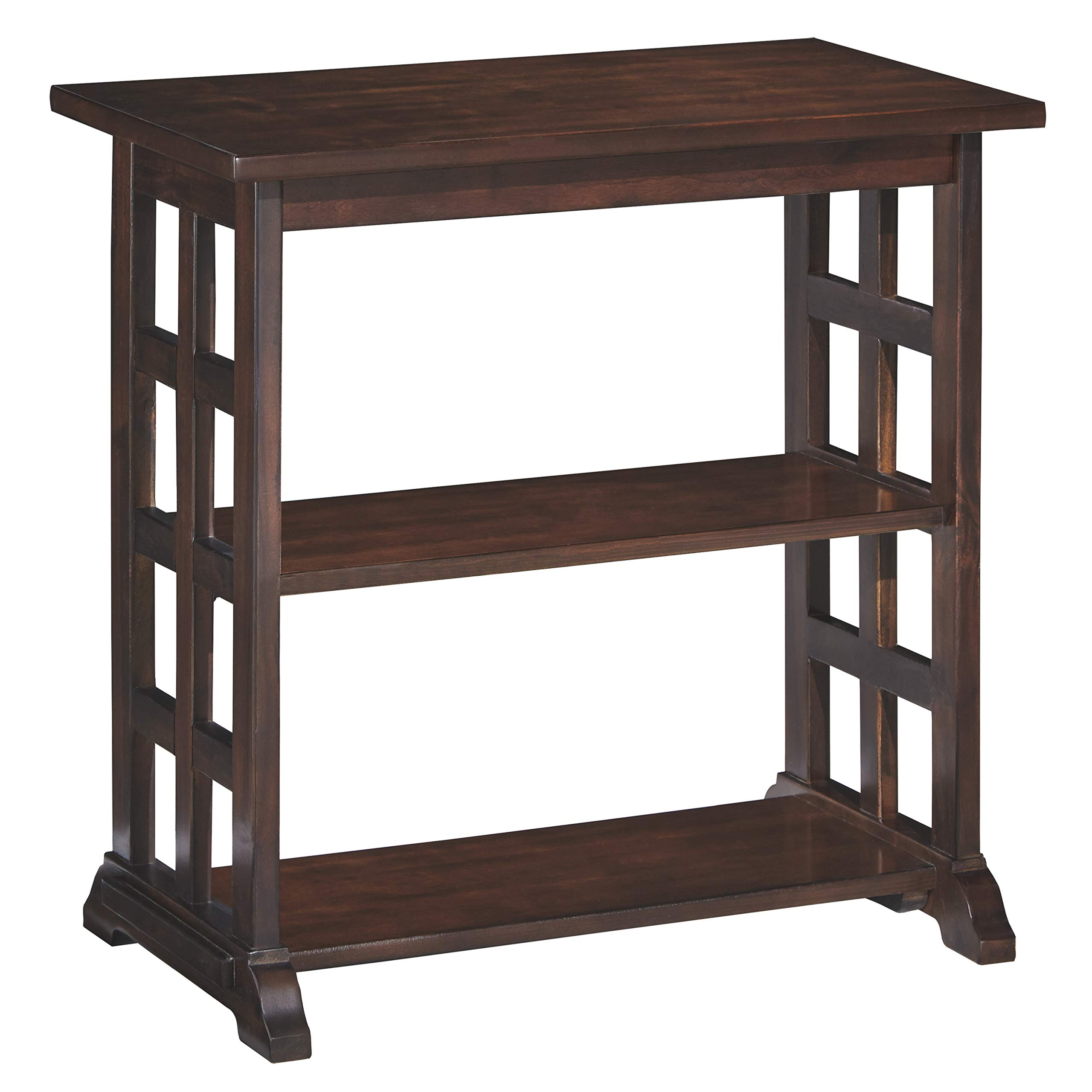 Ashley Furniture Signature Design - Braunsen Chairside End Table - 2 Shelves - Contemporary Lattice Design- Brown by Signature Design by Ashley