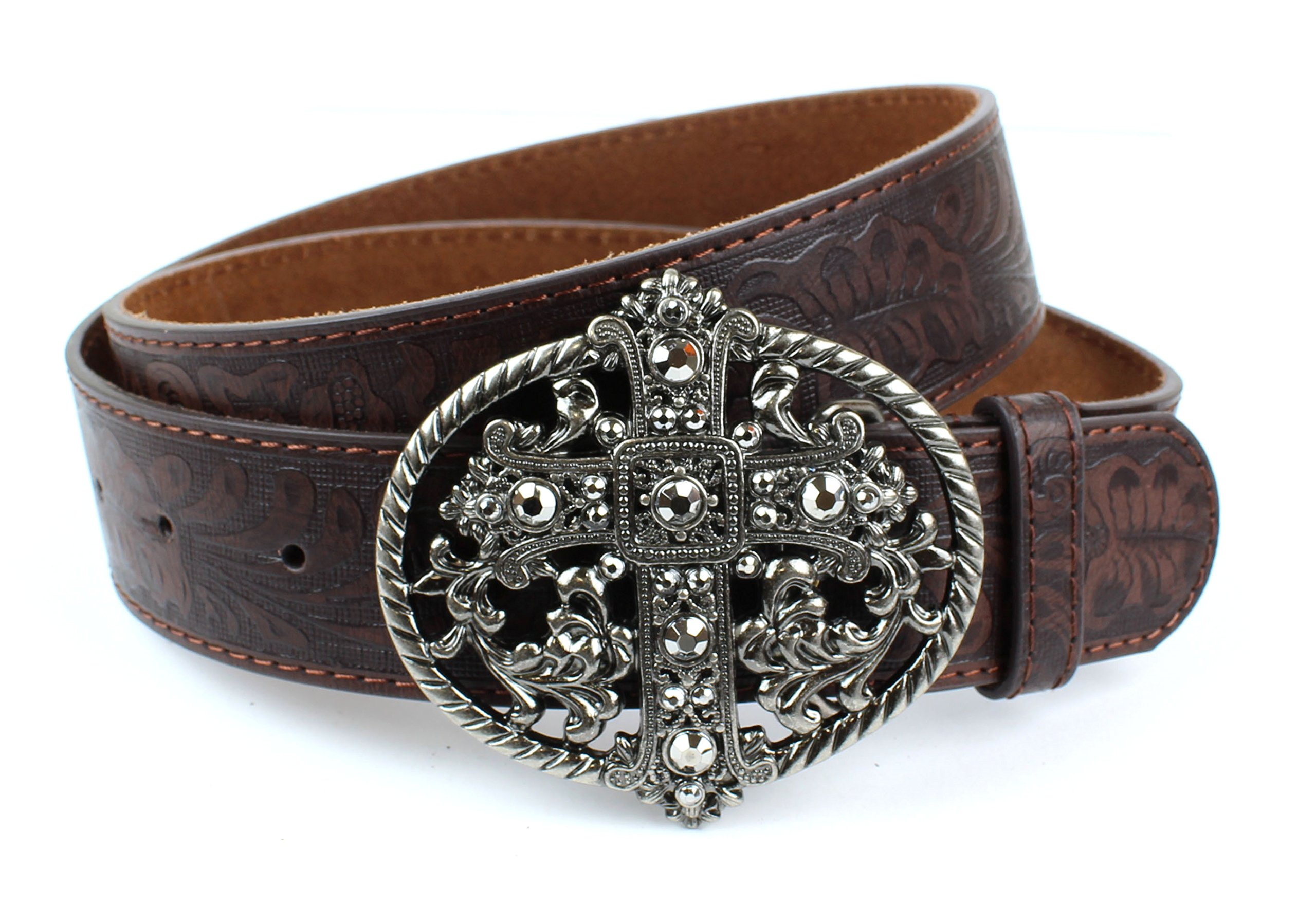 Western Embossed Scrollwork Leather Belt Vintage Cross Oval Buckle (Brown L) by BC Belts