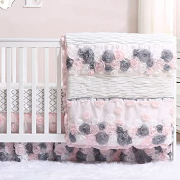 Brand-new Amazon.com : Colette Pink and Grey Floral 3 Piece Crib Bedding Set  EE18