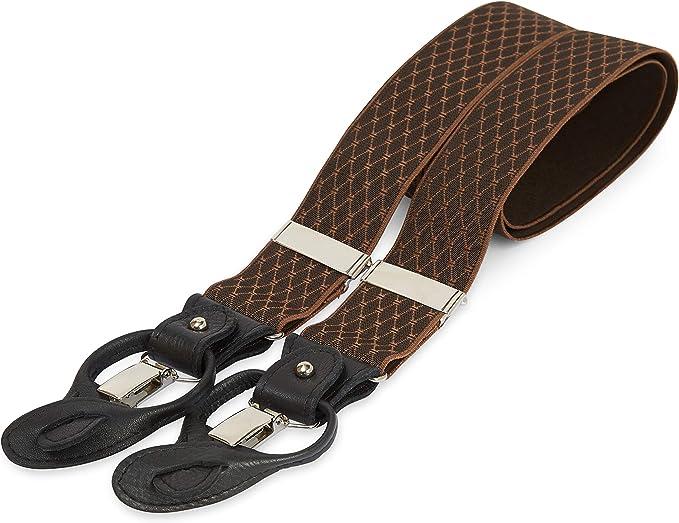 Men's Vintage Style Suspenders Braces The British Belt Co. Quinton Leather Trim Braces Nickel Clips Adjustable Sizing £45.00 AT vintagedancer.com