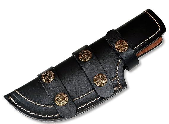 Amazon.com: Negro grueso piel Tracker vaina Blade cuchillo ...