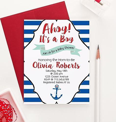 Ahoy Its A Boy Baby Shower Invitations, Nautical Baby Shower Invitation, Baby  Shower Invitation