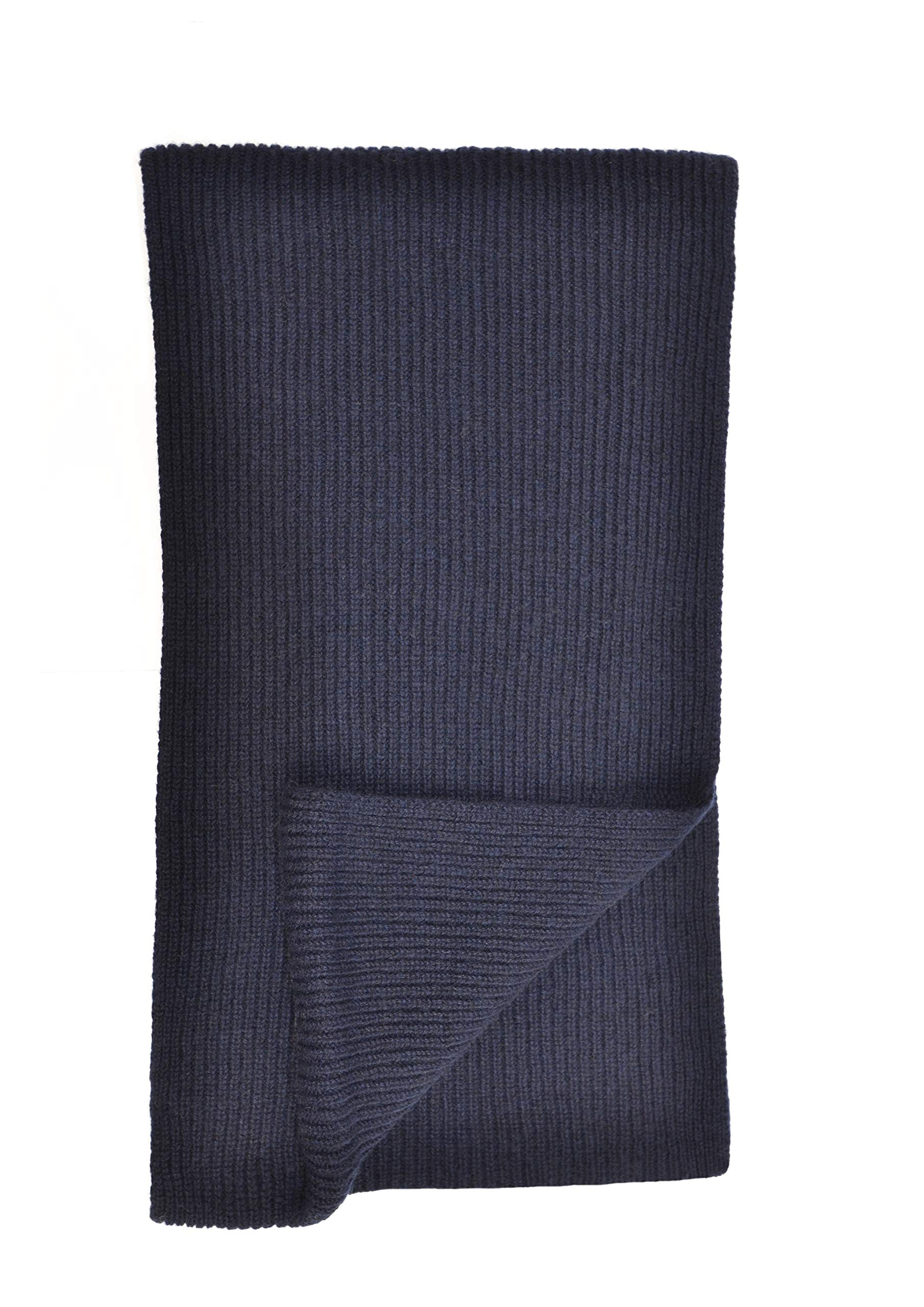 Cashmere Ribbed Scarf in Dk Navy Made In Scotland