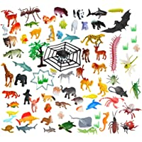 Amitasha Jungle Wild + Aquatic Animal Toys Figure Playing Set for Kids (Pack of 67)