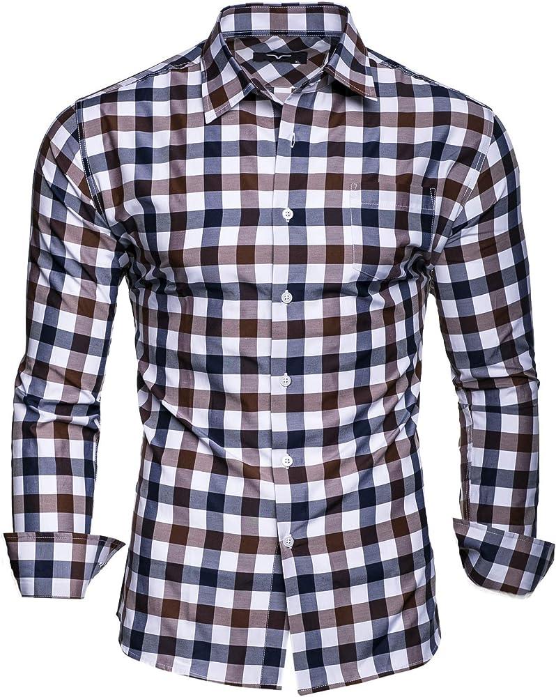 Kayhan Hombre Camisa Slim fit, Quadri Doppelfarbig Brown S: Amazon.es: Ropa y accesorios