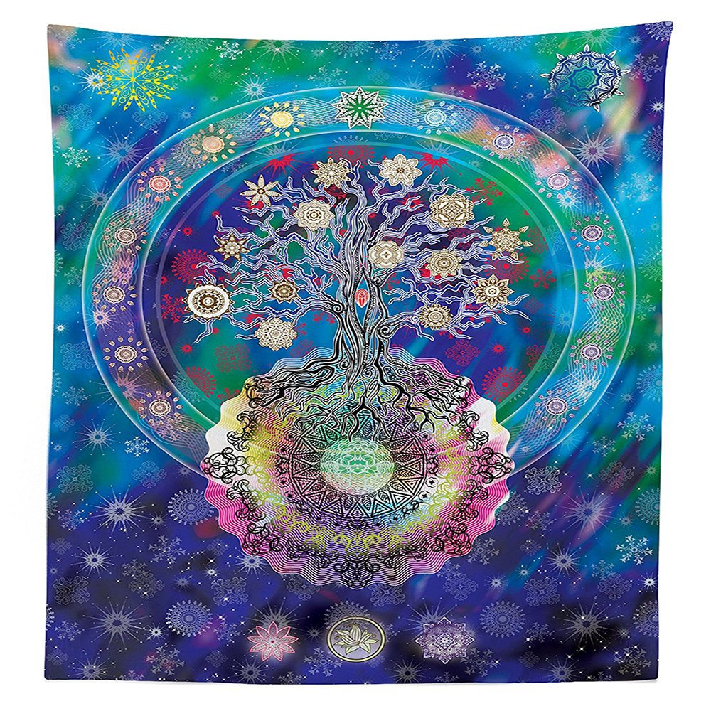 Home Decor Tablecloth Tree of Life with Floral Style Mandala Spiritual Artwork Meditation Peace Spa Design Decor Dining Room Kitchen Rectangular Table Cover Blue Purple