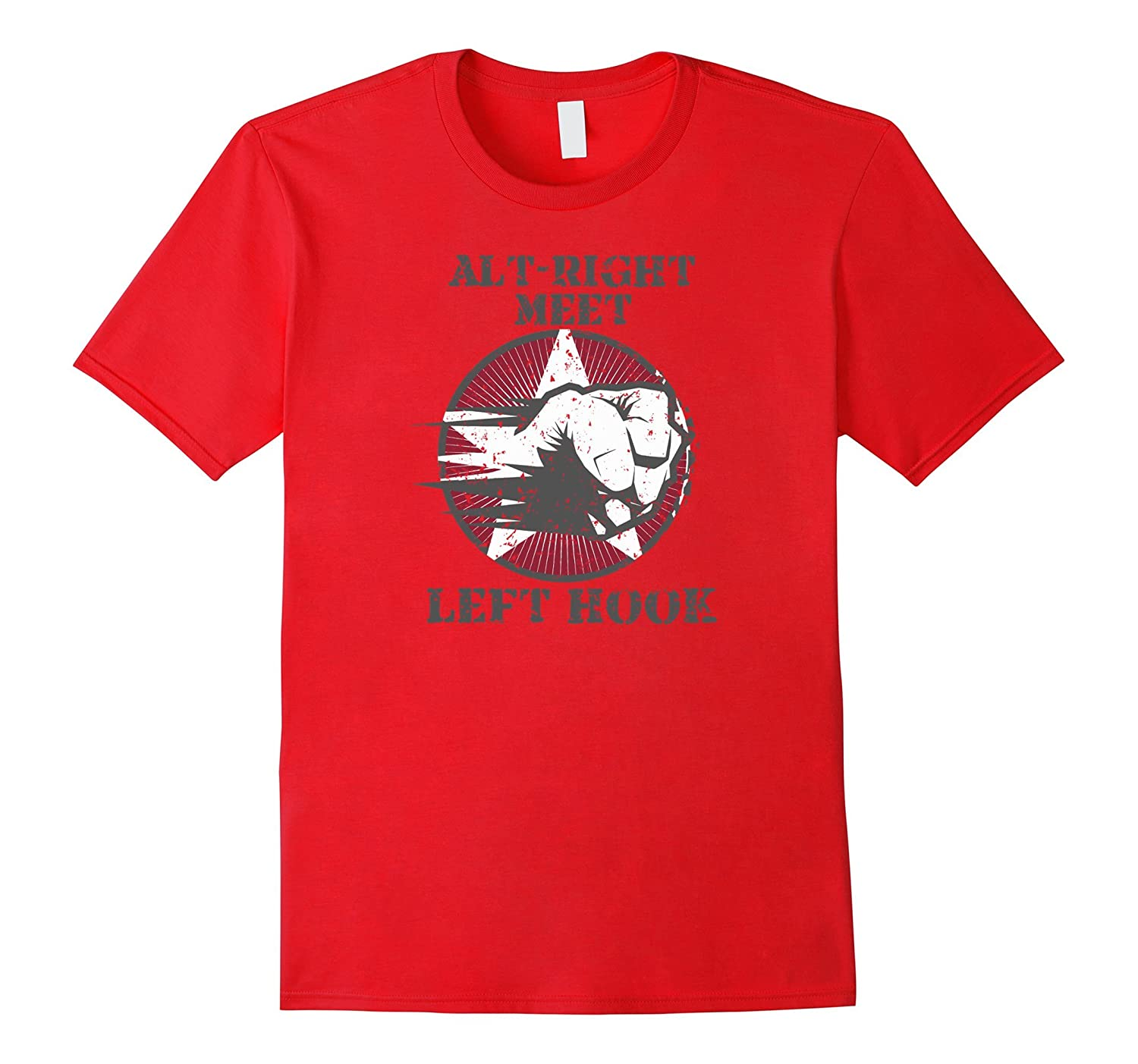 Alt-Right Meet Left Hook Anti Nazi Graphic Tee Humor-RT