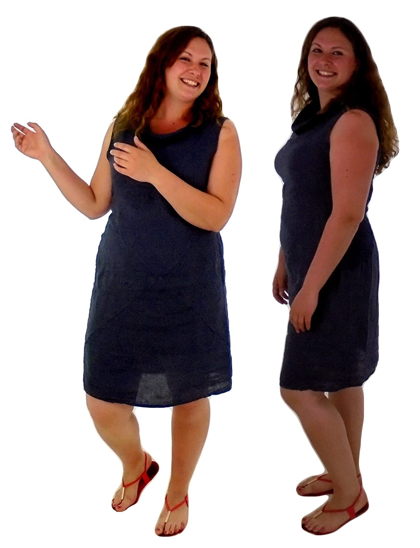 Mein Design Lagenlook de Mallorca Damen Kleid FY400 Long Tunika Leinen Gr. M/L blau