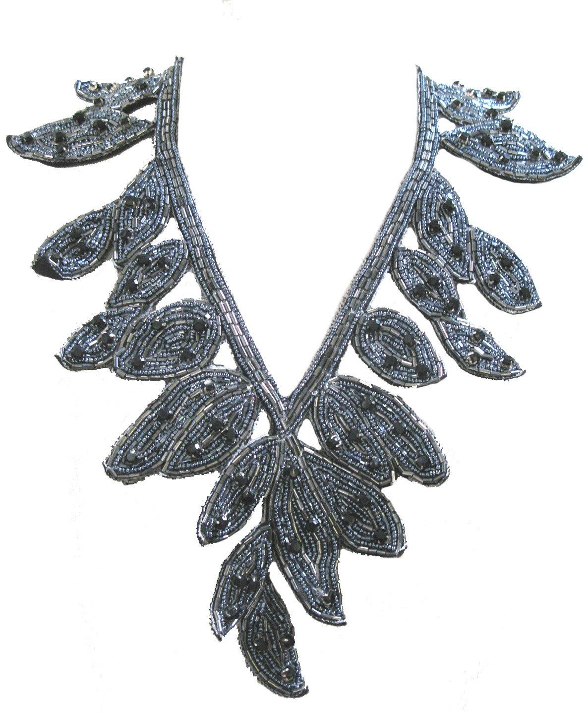 ''Deco'' Beaded Leaf Bib Necklace Soft Fabric Statement Jewelry (Gunmetal)