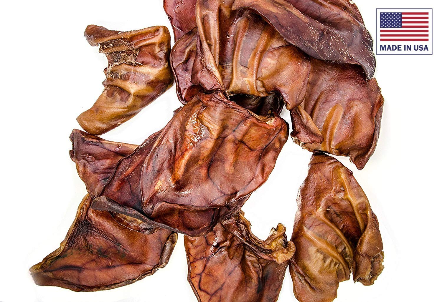Unified Pet All Natural Premium Thick Cut Pig Ears Treats for Dogs - American Made - Maple Smoked Pork Chew Healthy for Clean Teeth (100 Count)