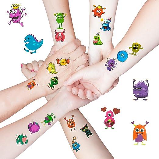 Oblique Unique 48 Lustige Bunte Monster Tattoo Sticker I Kinder