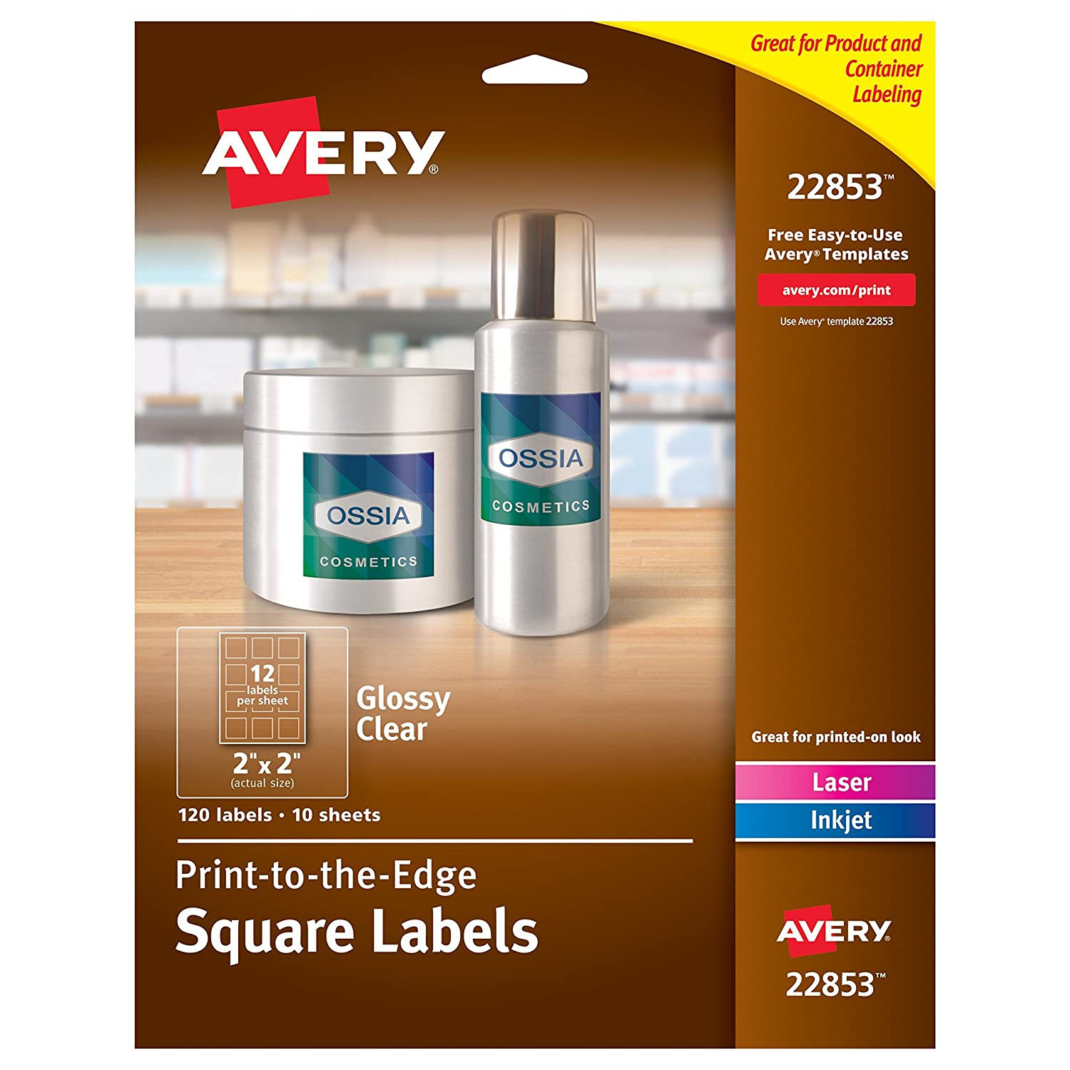 amazoncom avery print to the edge glossy clear square labels 2 x 2 pack of 120 labels 22853 office products