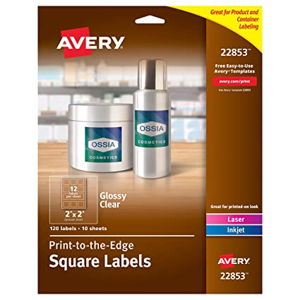 amazon com avery print to the edge glossy clear square labels 2