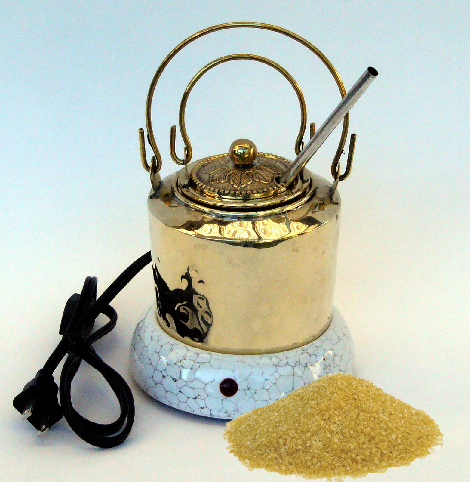 Hot Glue Pot Combo - Hand Made Brass Pot for Hide Glue, Electric Warmer and 1/2 Pound of Hide Glue