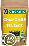 Organic Chamomile Tea Bags | 100 Tea Bags | Eco-Conscious Tea Bags in Kraft Bag | Raw from Egypt | by FGO