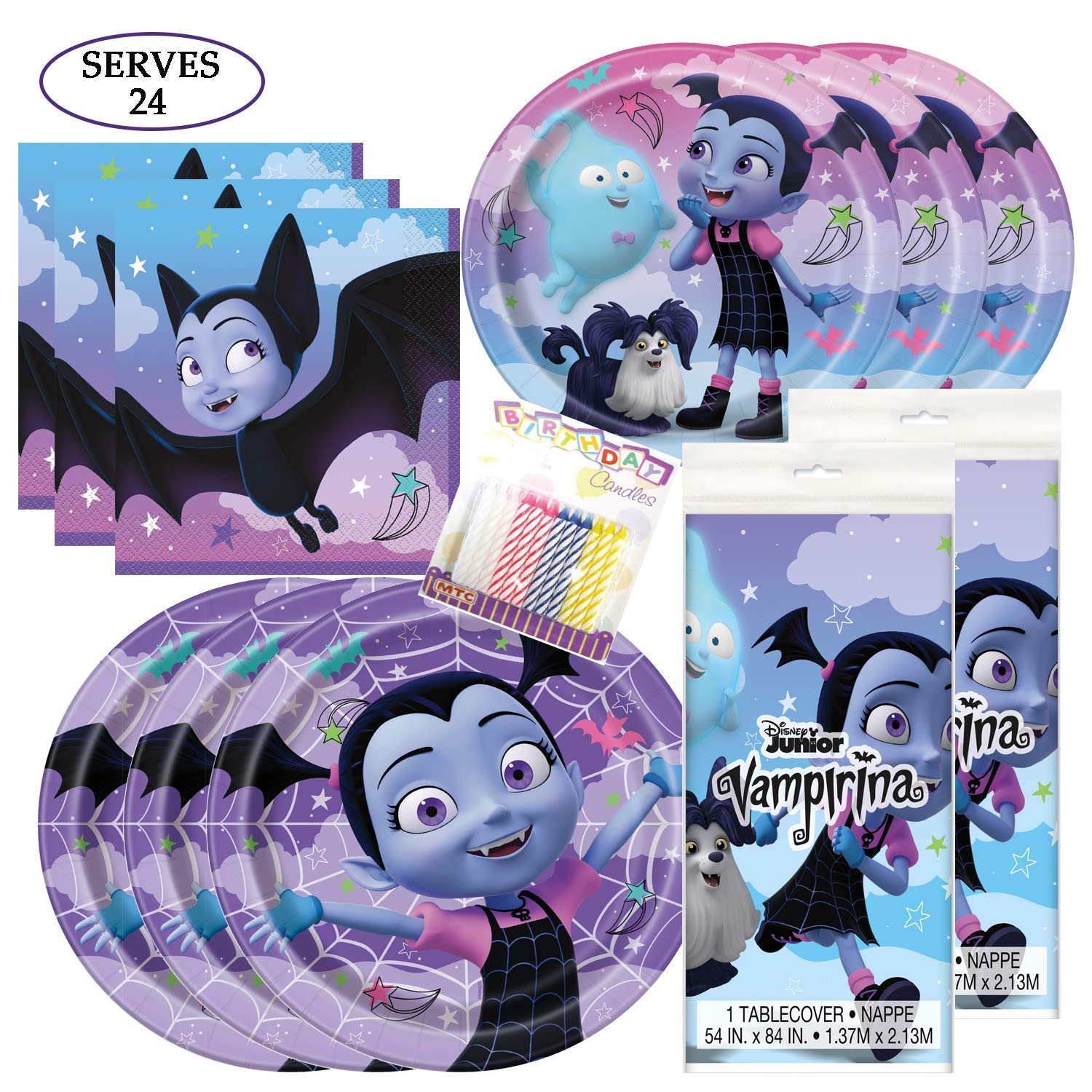 Vampirina Themed Party Pack - Includes 24 9'' and 24 7'' Paper Plates, 48 Luncheon Napkins, 2 Matching Table Cloth, Plus 24 Birthday Candles - Serves 24