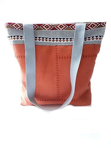 b130043c09 Sac à main moderne ethnique porté épaule suédine brique citrouille, sac  cabas femme porté main