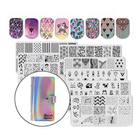 Beautybigbang 8pcs Placas uñas estampados Plantillas para uñas stampar decoracion + Bolsa de tarjetas Nail Art Stamping Set