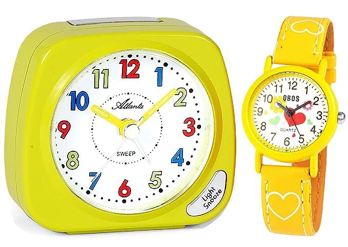 Niños despertador sin tic tac) + Reloj de pulsera para niños amarillo - Atlanta 1936 - 2 Kau: Amazon.es: Relojes