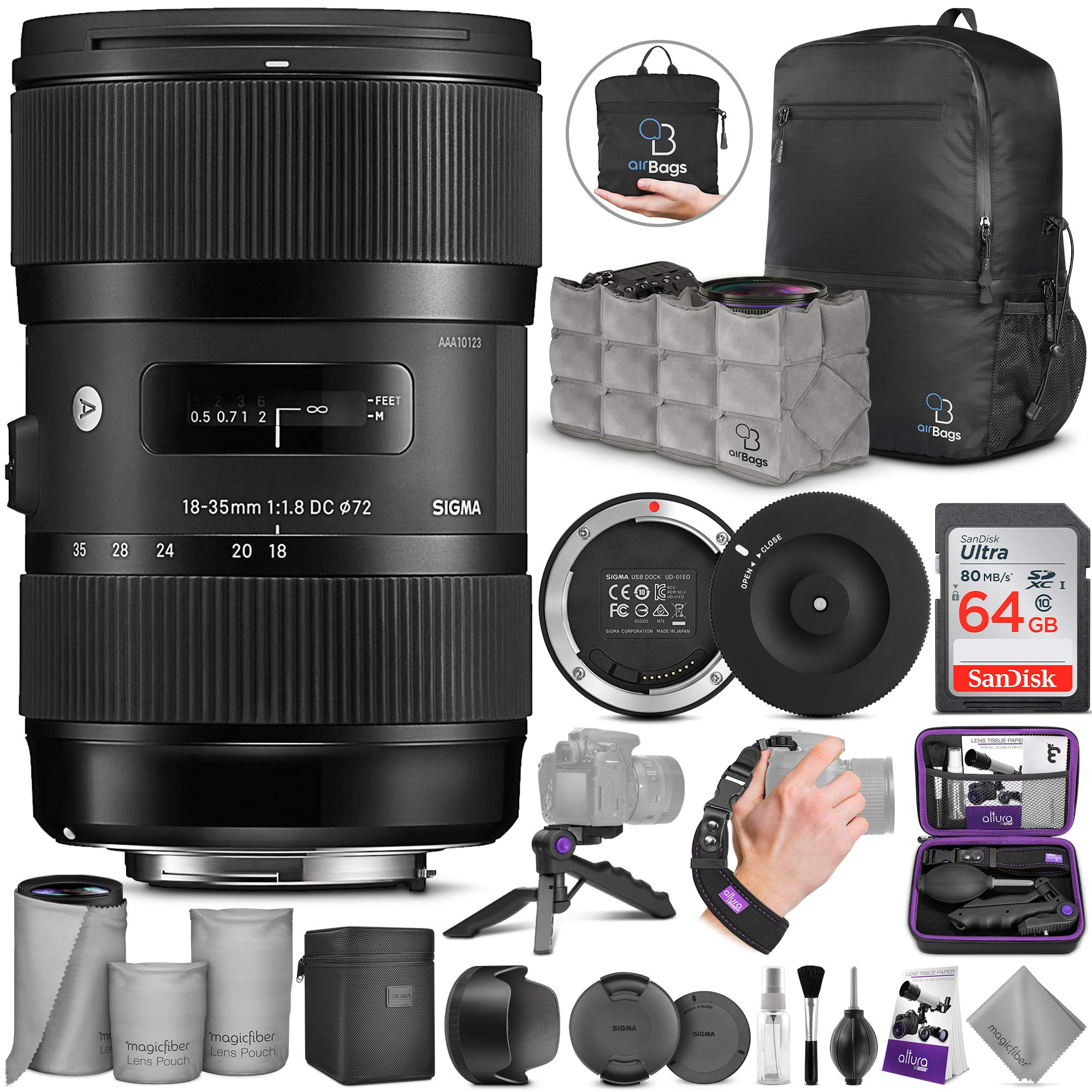 Sigma 18-35mm F1.8 Art DC HSM Lens for Canon DSLR Cameras + Sigma USB Dock with Altura Photo Advanced Accessory and Travel Bundle by Sigma