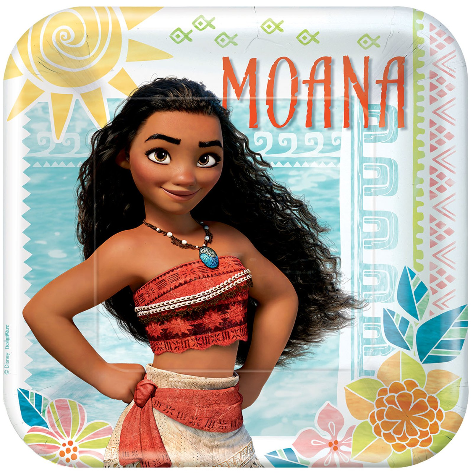 BirthdayExpress American Greetings Moana 9'' Square Plate (24)