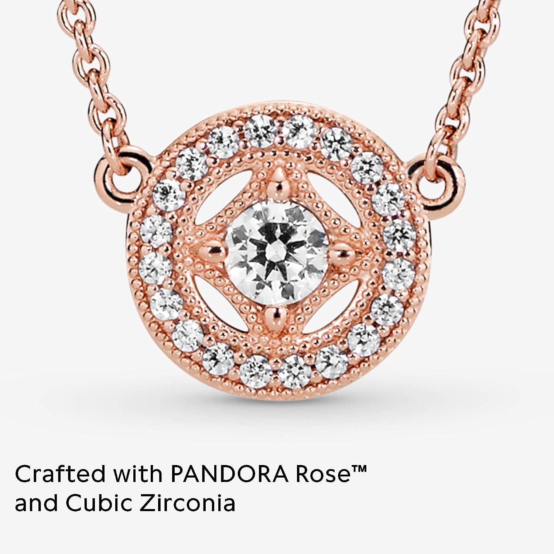 Pandora Jewelry Vintage Circle Collier Cubic Zirconia Necklace in Pandora  Rose, 17.7