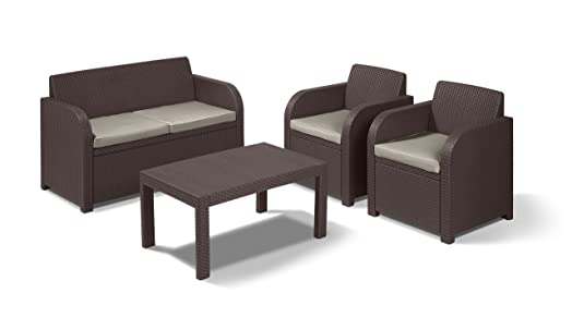 Rattan lounge set  Allibert by Keter Carolina Outdoor 4 Seater Rattan Lounge Table ...