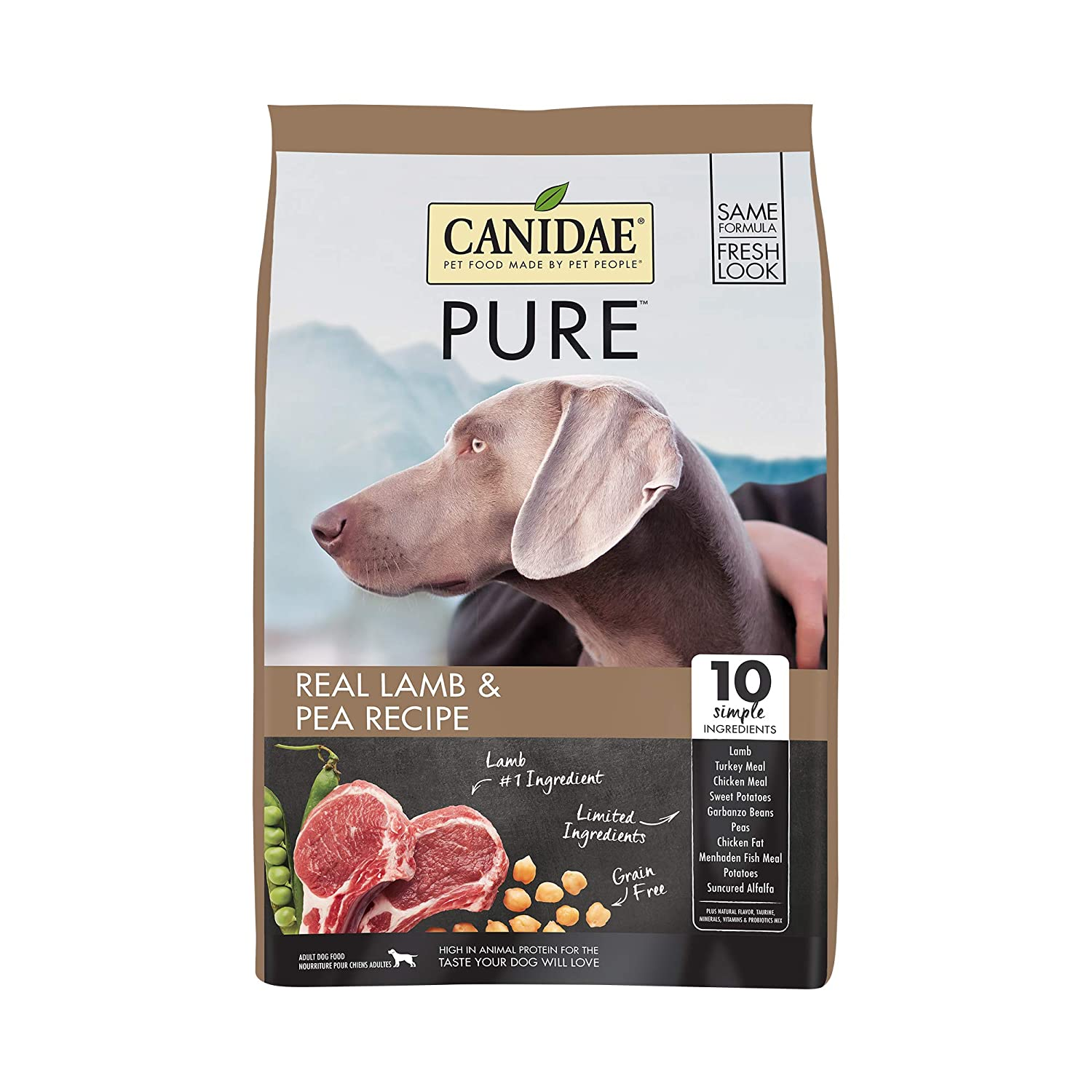 4 lb Canidae Grain Free Pure Elements Dog Dry Formula With Fresh Lamb, 4 Lbs