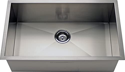 Alpha 36 Stainless Steel Square Zero Radius Single Bowl Undermount Kitchen Sink