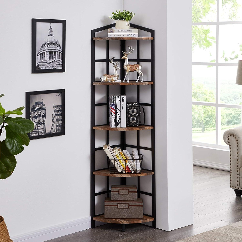 Hombazaar 5-Shelf Industrial Corner Bookcase and Shelf, Standing Tall Corner Bookshelf Display Unit Storage Rack for Home Livingroom Small Space, Retro Brown Finish