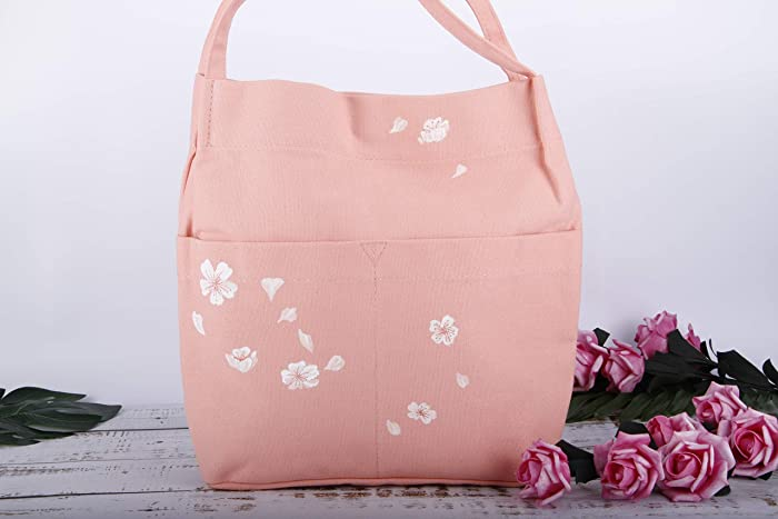ece275a14 Hand Painted Peach Pink Floral Large Canvas Vegan Tote Bag Cherry  Blossom-Cotton Linen Fabric Shoulder Bag Handbag-Floral Flower Purse-Reusable  Grocery ...