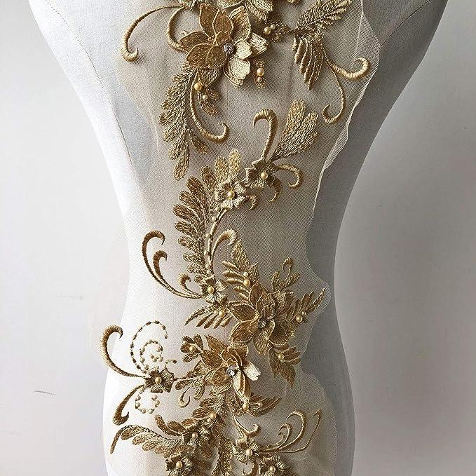 Cuentas Bordado Parches de Flores 3d encaje Floral Vestido de novia diseño de encaje accessoris de artesanía costura para disfraz Bodices: Amazon.es: ...