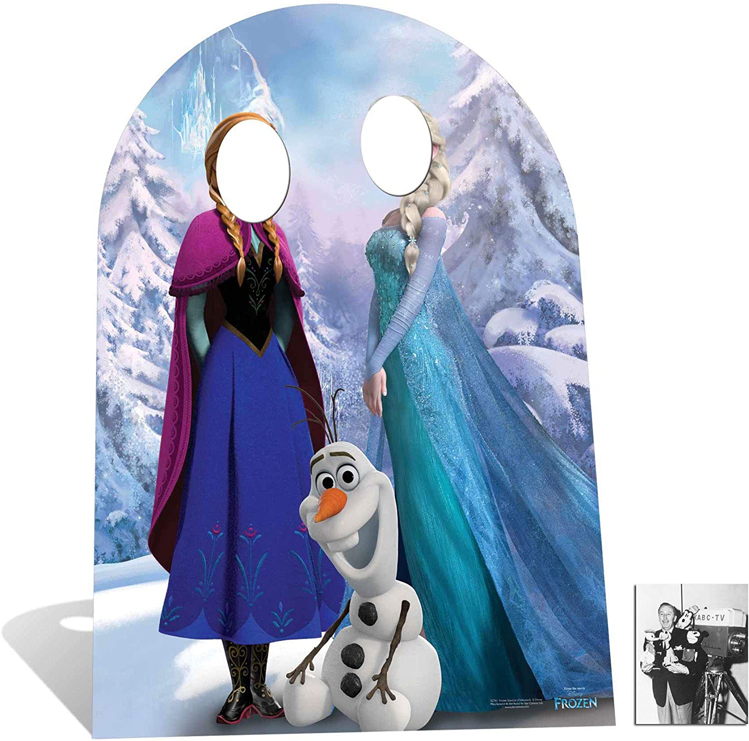 Fan Pack - Child Size Anna and Elsa with Olaf from Frozen Disney Cardboard Stand-in Cutout / Standee - Includes 8x10 (20x25cm) Photo