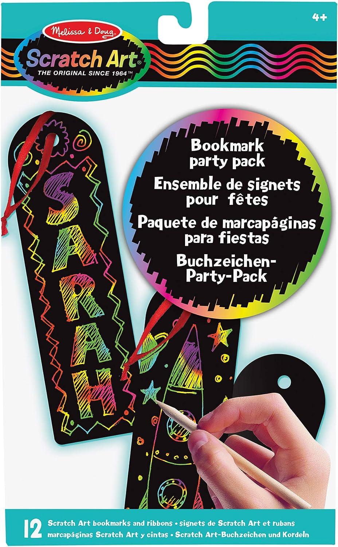 Melissa & Doug- Scratch Art Paquete de Fiesta Marcapáginas, Multicolor (15906)
