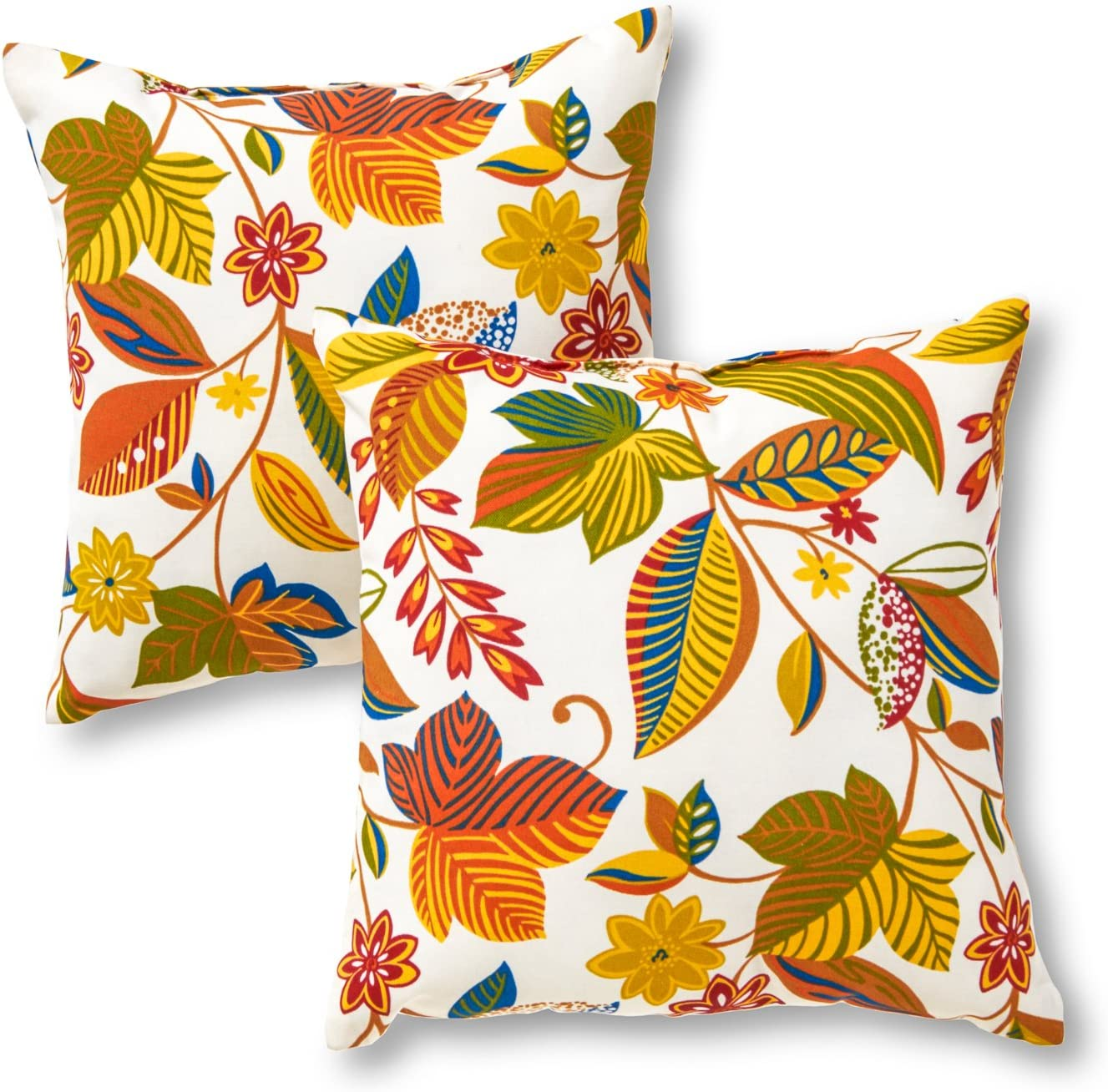 Greendale Home Fashions AZ4803S2-ESPRIT Foliage Outdoor 17-inch Square Throw Pillow (Set of 2)