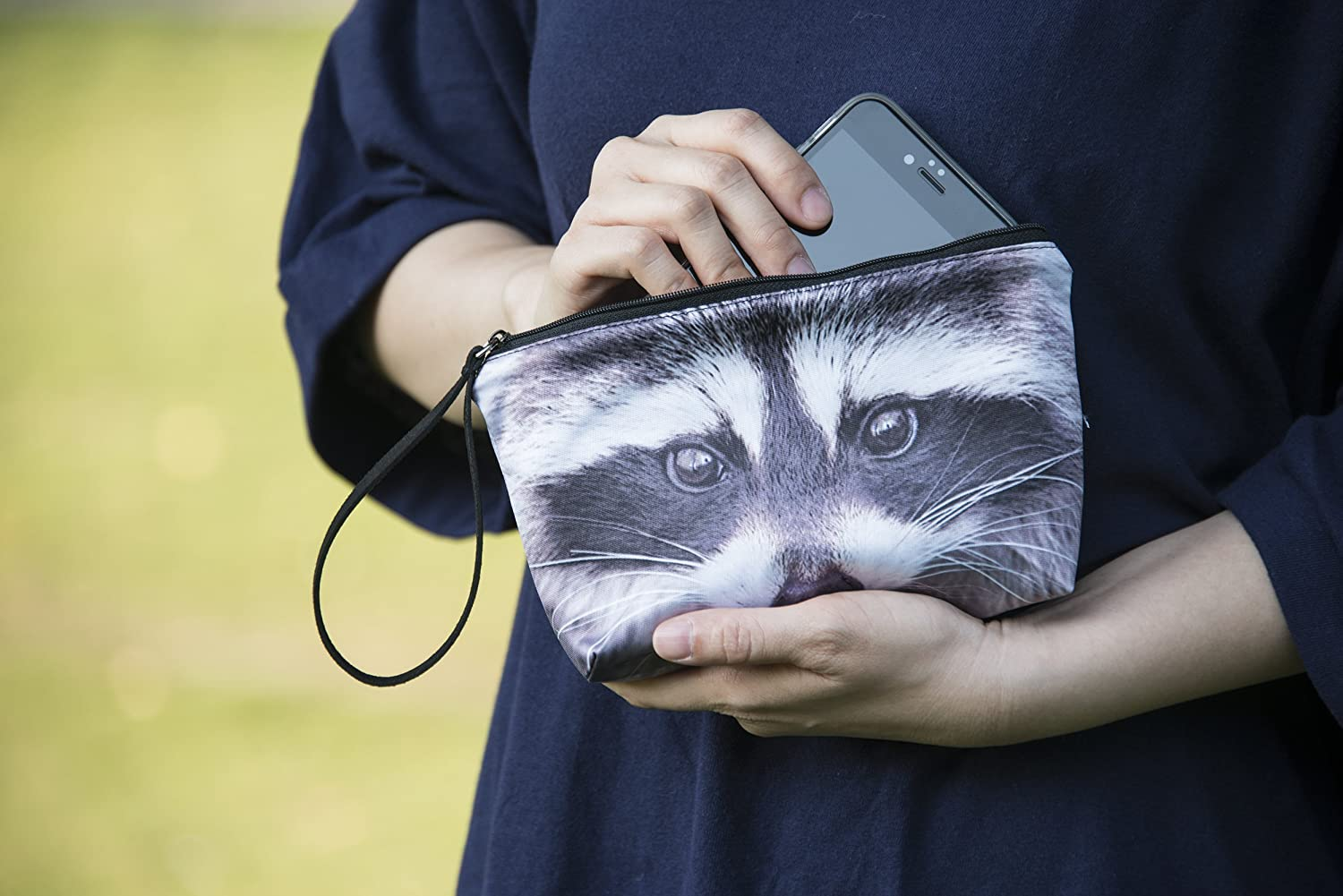 Raccoon animal clutch, animal cosmetic bag, wristlet, pouch