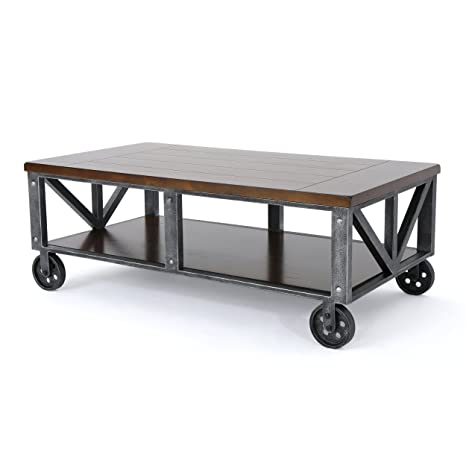 Amazing Dresden Industrial Dark Brown Faux Wood Coffee Table With Antique Black Iron Frame Inzonedesignstudio Interior Chair Design Inzonedesignstudiocom