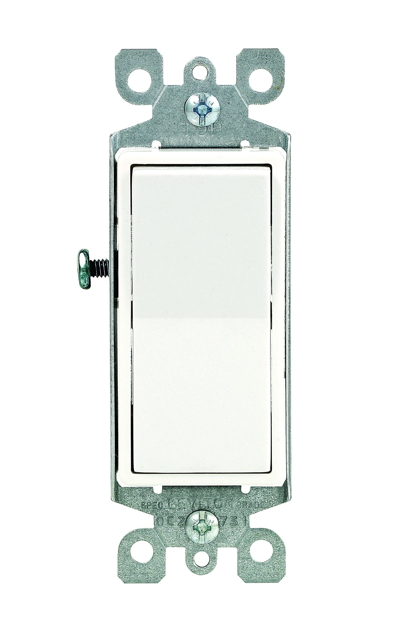 Leviton 5601-2WM 15 Amp, 120/277 Volt, Decora Rocker Single-Pole AC Quiet Switch, Residential Grade, Grounding, 10-Pack, White by Leviton