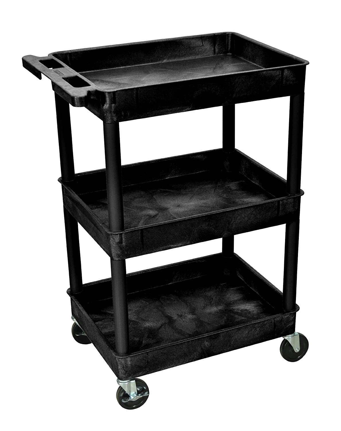 Luxor STC111-B 40.5-Inch Automotive Utility Cart with 3 Shelves, Black