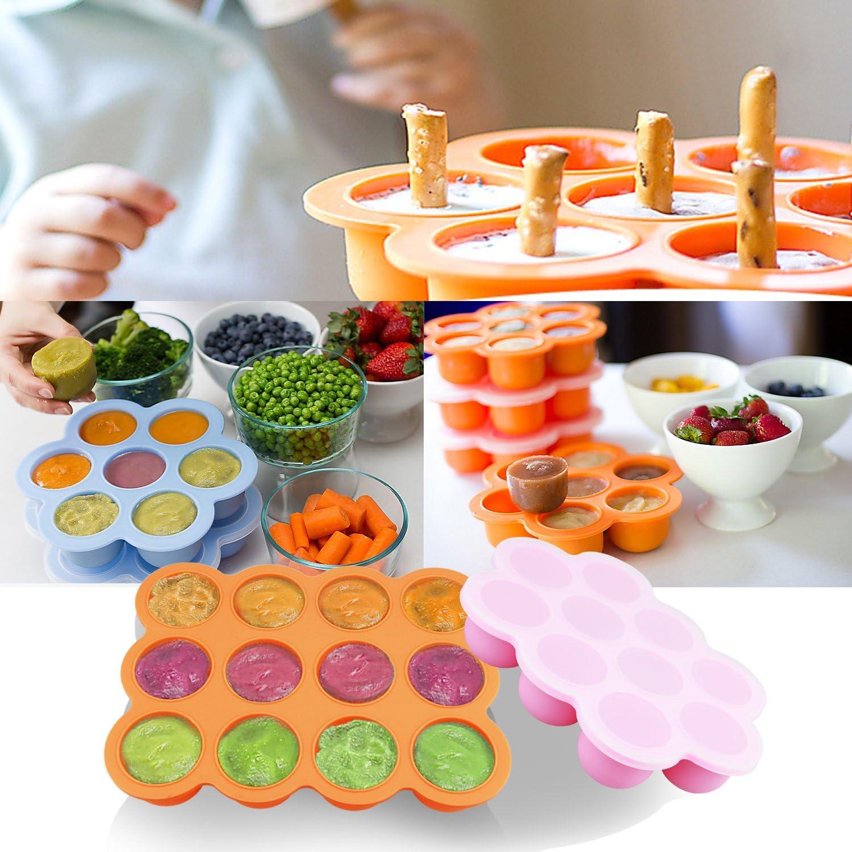 Bandeja de silicona para congelador para alimentos de bebé, 2 unidades, reutilizable, contenedores de almacenamiento de alimentos para bebé, verduras y fruta y leche materna – BPA FREE y aprobado por la