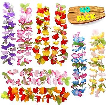 40 Pcs Collares Hawaianos De Flores Lei Luau - Guirnalda para Fiesta Tropical Boda Cumpleaños, Playa con Temalei Hawái Hawaianas Decoración Hawaianos ...