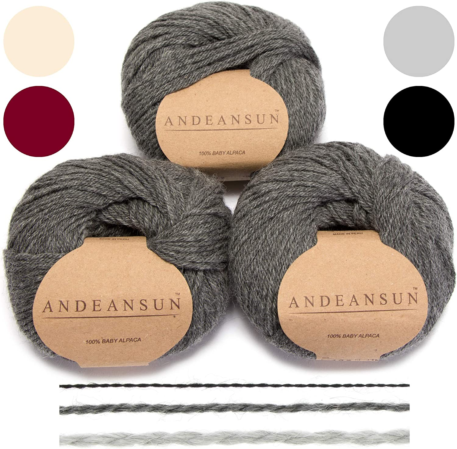 Set of 3 Light Grey Alpaca Yarn Blend UMAYO Fingering #2 Weaving Crocheting 5.29 Ounces//150 Grams Total Lovely and Soft to Enjoy Knitting