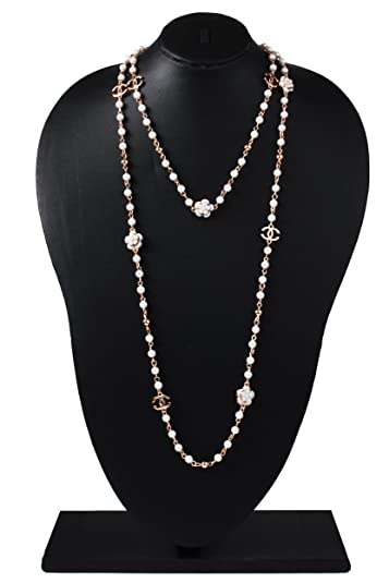 Glamorous Hand Crafted Faux Pearl String Necklace with Chanel Beads Jewelry  for Women   Girls  Amazon.in  Jewellery 98f3e652f4