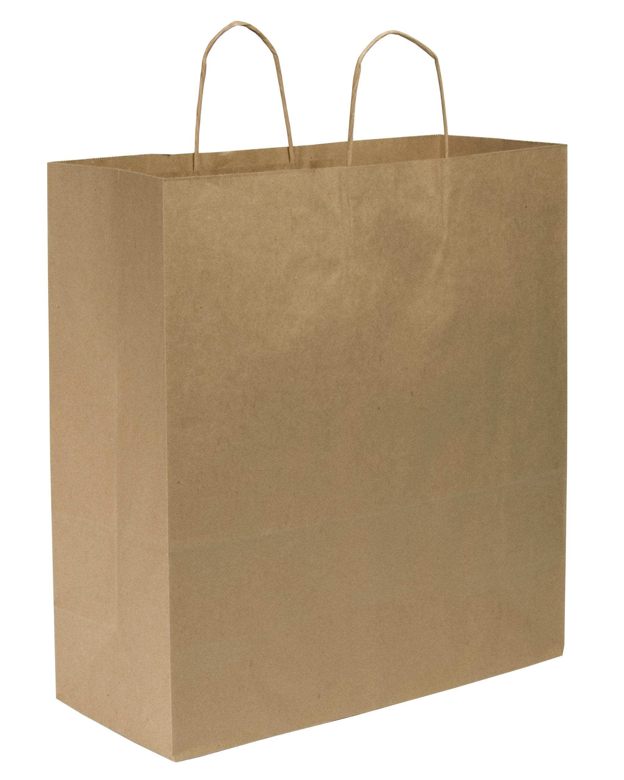 Duro ID# 87148 Cargo Shopping Bag 70# 100% Recycled Natural Kraft 200pk 18 x 7 x 18-3/4