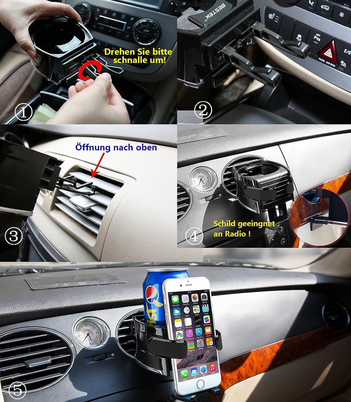 BESTEK Supporto Cellulare per Auto Universale Porta Cellulare-Portabottiglie Auto per Rinfrescare Acqua o Bibite con 3 Coppie di Ganci Intercambiabili