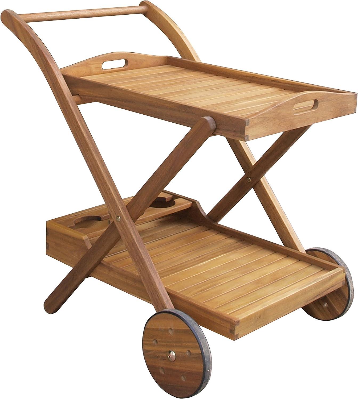 benelando té carro/Camarera de madera de acacia con bandeja ...